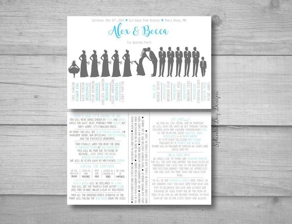 Wedding Program Template Silhouette Funny Wedding Program Etsy