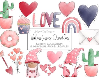 Valentines Clip art, watercolor art, valentines day, watercolor rainbow, heart, gnome, png, jpg, pink, red, love, balloons, cactus clipart