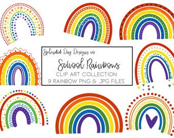 School rainbow clip art, ROYGBV clip art, clipart for teachers, primary colors, png, jpg, commercial use