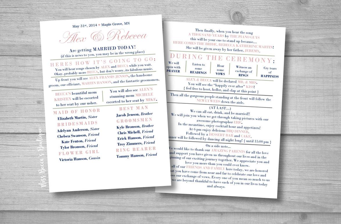 Gemütlich Einzigartige Hochzeitsprogramm Vorlagen Zeitgenössisch ...