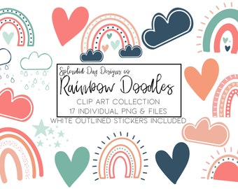 muted rainbow clip art, fall clip art, autumn rainbow, heart, sun, baby shower, birthday party, png, pink, rain cloud, commercial use