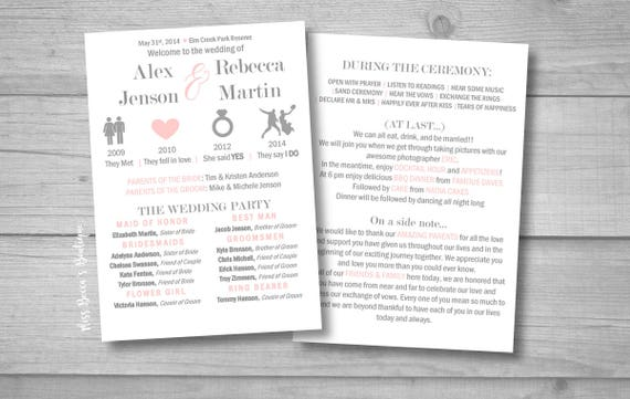 relationship timeline wedding program funny wedding program etsy