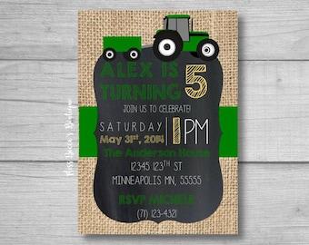 DIY Birthday Party Invitation - tractor themed birthday -green tractor birthday - boy birthday party - child birthday party - farm birthday