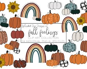 Fall clip art, pumpkin clip art, autumn rainbow, happy fall, hello fall, fall stickers,  pumpkin stickers, png, commercial use, halloween