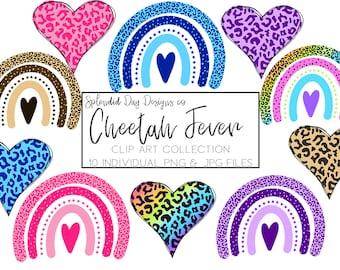 Cheetah print clip art, animal print, jungle rainbow, cheetah heart, cheetah print, heart clipart, rainbow clipart, png, commercial use