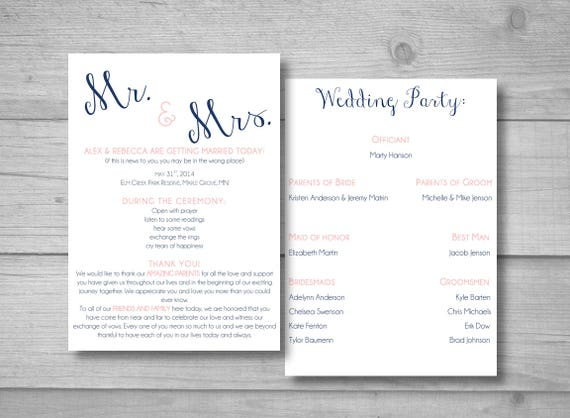 mr and mrs wedding program simple wedding program diy etsy
