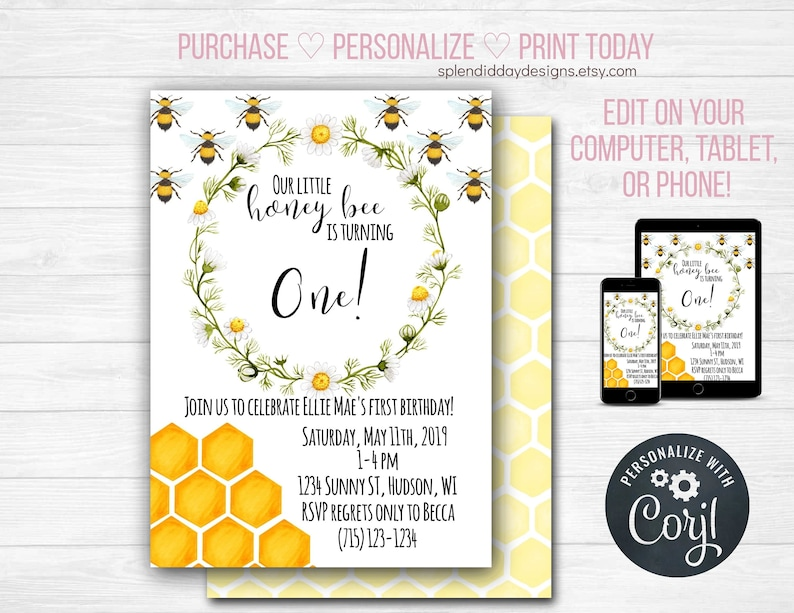 Bee Birthday Invitation Party Toddler