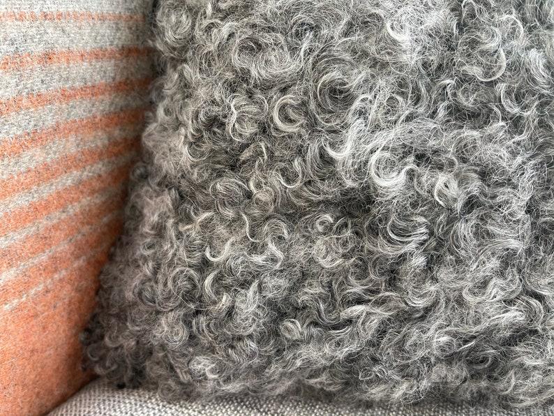 Luxurious Curly Wool Rare Gotland Breed Sheepskin Cushion /& Inner Pillow in Natural CharcoalDark Silver Grey Colour