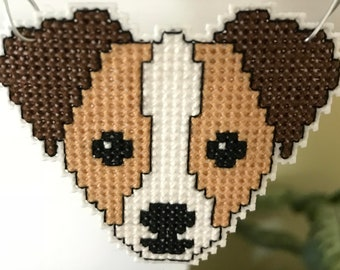 New Jack Russell Dog Cross Stitch Christmas Ornament