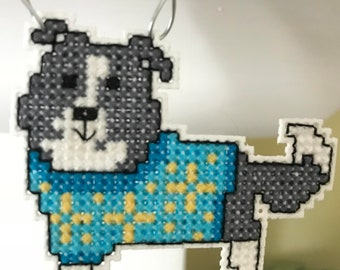 New Border Collie Dog Cross Stitch Christmas Ornament