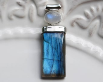 Labradorite Pendant, Flashy Blue Labradorite with moonstone and sterling silver