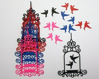 Set Of 8 Birdcages And 16 Cute Birds/Die Cuts/Embellishments/Paper Cuts/Scrapbooking/Card Making/Birdcage/Birds