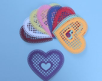 9 Pretty Lattice Hearts With Heart Cut Outs/Embellishments/Die Cuts/Scrapbooking/Card Making/Paper Cuts