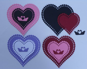 Set Of 8 Hearts With Swans/Die Cuts/Embellishments/Paper Cuts/Scrapbooking/Card Making/Swan/Heart