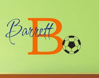 Soccer Wall Decal with Personalized Name - Sports Theme Room Decor - Monogrammed Vinyl Lettering for Boy- Teen Room Decor- Soccer Room Decor