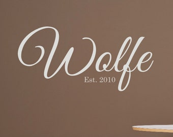 Family Name with Established Year Wall Decal - Personalized Vinyl Wall Decal - Personalized Home Decor - Wedding Gift - Family Wall Decals