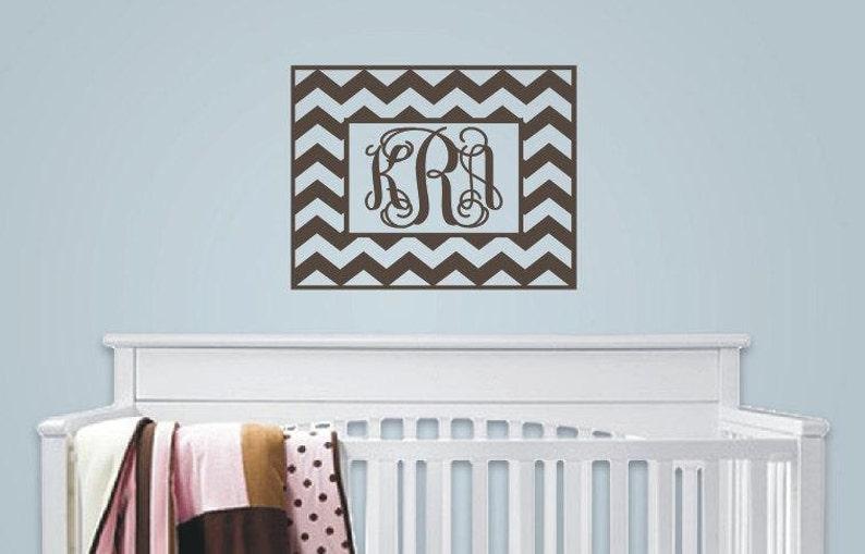 Vinyl Decal Baby Nursery Chevron Chevron Wall Decal with Monogram Initials Monogrammed Vinyl Wall Lettering Girl Room Decor