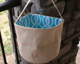 Monogrammed Round Burlap Bucket Easter Tote Blue Vine Personalized Easter Basket
