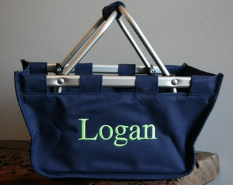 Personalized Mini Market Tote Navy Baby Shower Gift