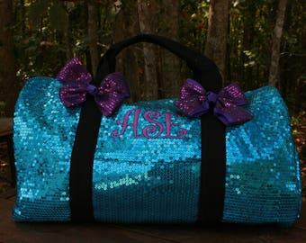 Monogram Aqua Sequined Duffel Dance Bag
