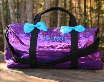 Purple Sequined Duffel Dance Bag Cheer Duffle Bling
