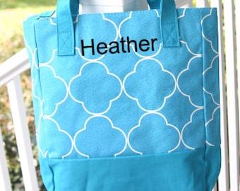 Ladies Monogram Shopping Tote Bag Turquoise Quatrefoil Zippered Top