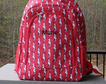Girls Personalized Coral Seahorse Bookbag Girls School Backpack