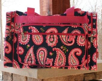 Monogram Duffel Bag Pink Paisley Pink Trim Personalized Overnight Bag
