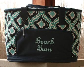 Monogrammed Cooler Bag Navy Aqua Ikat Insulated Cooler Tote