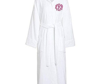 Monogrammed Velour Hooded Robe Men or Womens White Plush Robe e7bc07f5b