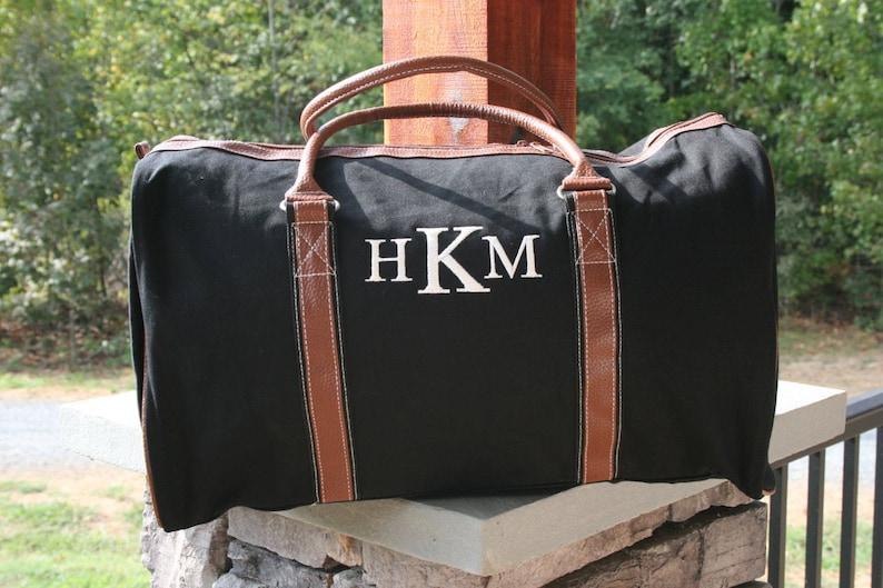e84f2df97 Monogrammed Mens Duffel Bag Personalized Black Weekender Bag | Etsy