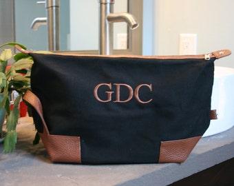 Mens Personalized Large Black Dopp Kit Monogrammed Toiletry Bag
