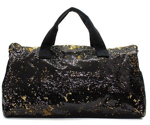 09bf5cb595 Personalized Dance Bag Girls Gym Bag Black and Gold Sequins