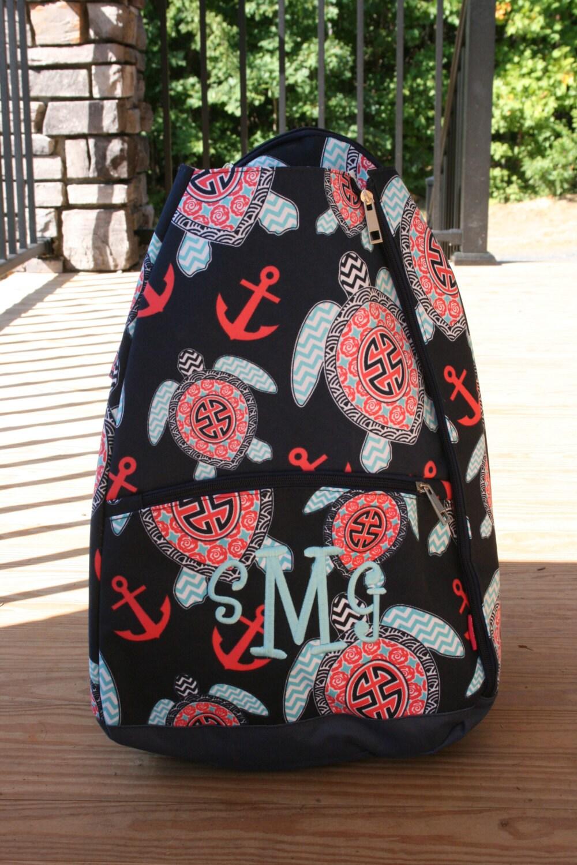 Monogrammed Tennis Racket Bag Sea Turtles Ladies Personalized Etsy Hand Towel Anak Character