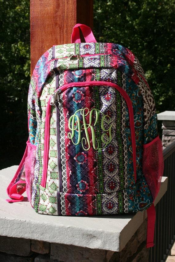 Girls Monogrammed Backpack Bohemian Print Girls Personalized   Etsy 1c608e382c