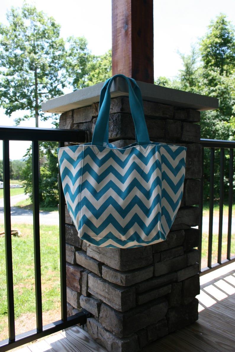 Ladies Monogrammed Tote Bag Turquoise Chevron