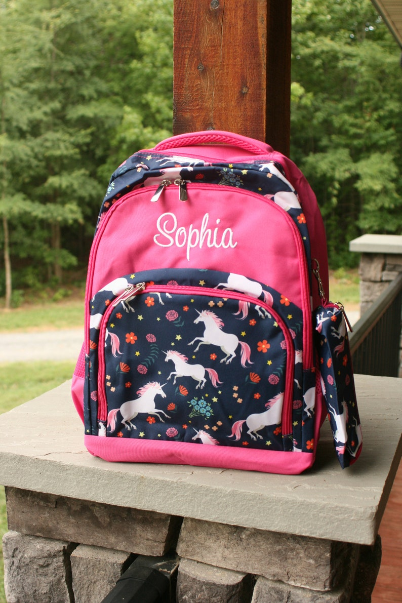 Personalized Unicorn School Backpack  Navy and Hot Pink Book image 0