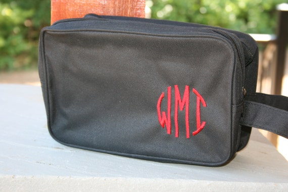 Monogrammed Black Toiletry Bag Personalized Dopp Bag Mens Gift   Etsy 842a75275c