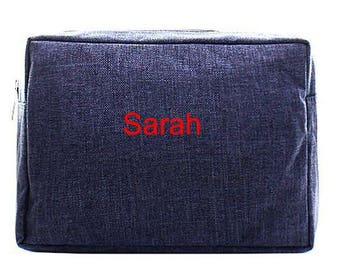 Personalized Blue Cosmetic Bag Monogrammed Stone Washed Makeup Case