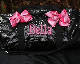 Black Sequined Duffel Dance Bag Cheer Duffle Bling