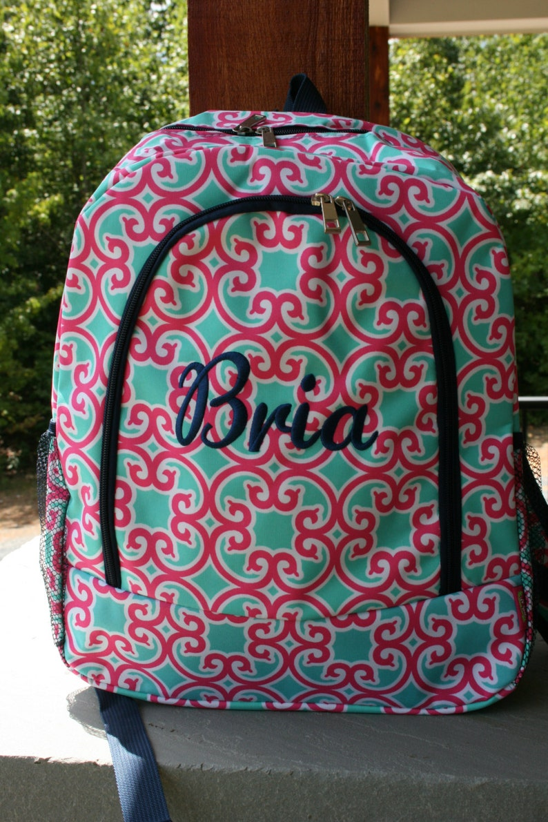 Monogrammed Girls Backpack Pink Mint Floral Girls Embroidered image 0