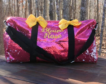 Pink Sequined Duffel Dance Bag Cheer Duffle Bling