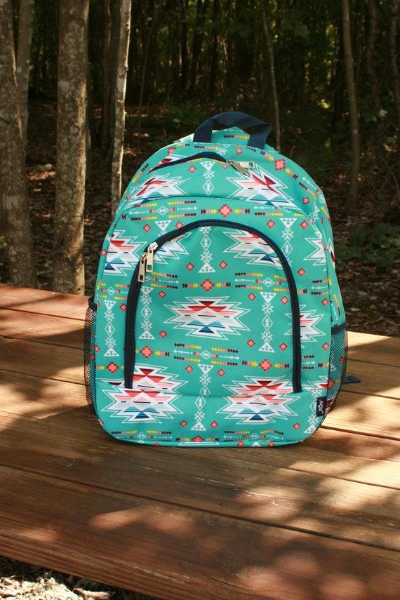 Monogrammed Southwest Backpack Girls Personalized Aqua Bookbag   Etsy 75abccb172