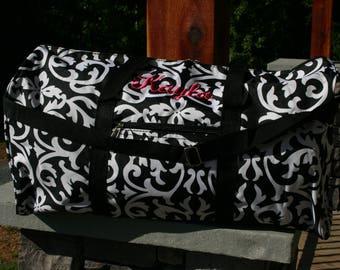 Monogram Duffel Bag Black Damask Personalized Gift