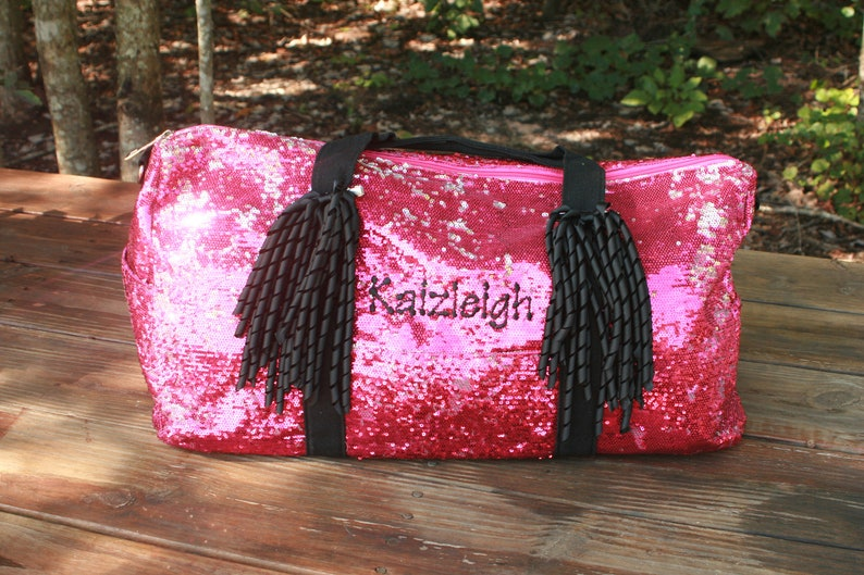 Sequin Dance Bag Pink Duffel Bag for Cheer Custom Embroidery