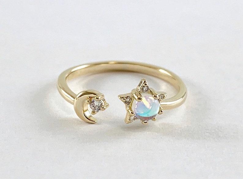 Moon /& Star CZ ring