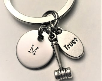 Lawyer Stainless Steel Key Ring, Gift for Lawyer, Law Student, Attorney, Paralegal, Judge, KeyChain, Gavel Trust Charm, Custom Gift Him/Her