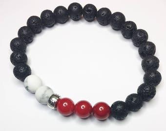 Black Lava Diffuser Bracelet, Essential Oil Diffuser Bracelet, Red Coral, White, Aromatherapy, Energy, Balance, Boho, Unisex, Adults, Teens