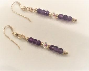 GiftJewelryShop Judges Tool Gavel Light Amethyst Crystal June Birthstone Flower Dangle Charm Bracelets