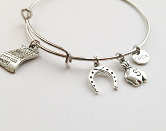 Good Luck Lottery Theme Expandable Bangle, Gambler Charm Bracelet, Good Luck Charms, Lucky Charms, Gift for Her